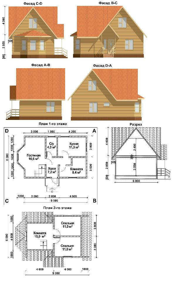 Проект дома 6 на 9 t